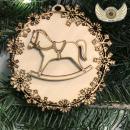 Ozdoba - sněhové vločky s koníkem